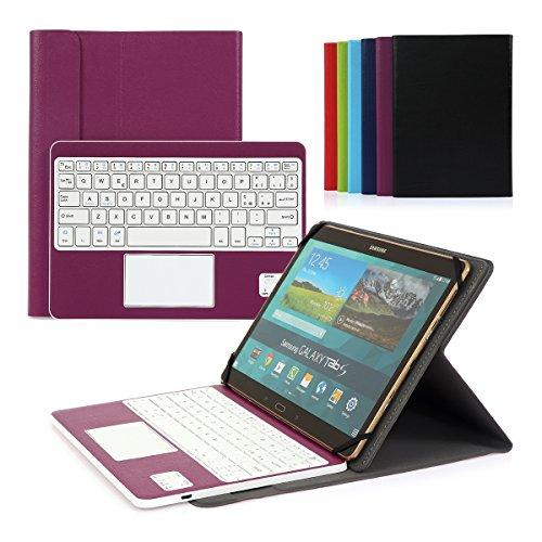Cassa con Tastiera Smontabile Bluetooth 3.0 Senza fili Italiano e multi touchpad - Compatibile con 9.0 -10.6 pollici Tablet Qualsiasi Windows / Android OS(Min 15x24cm Max 18x26cm)Viola