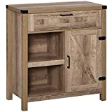 HOMCOM Rustic Barn Door Storage Cabinet/Modern Farmhouse Buffet Sideboard for Kitchen & Dining Room, Light Oak