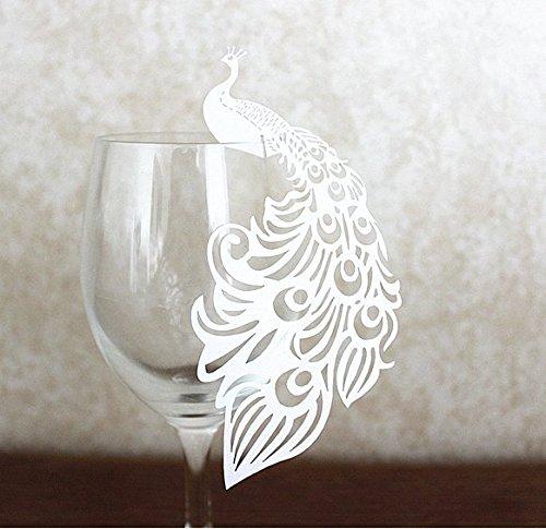 srovfidy unidades 50Shimmer cortado con láser Color Blanco Mariposa, pájaro, muñeco de nieve, nombre lugar tarjeta para boda champán/copas de vino, Party Favor número de mesa decoración