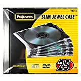 Fellowes 98316 - Pack de 25 Cajas Estuche para CDs/DVDs Slim, Transparente