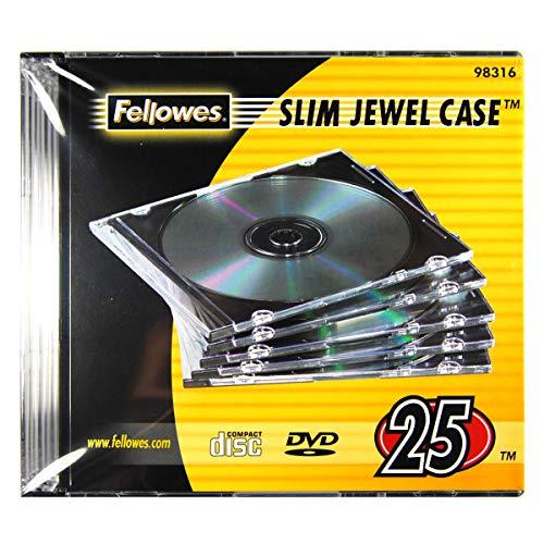 Fellowes 98316 - Pack de 25 Cajas Estuche para CDs/DVDs Slim, Transparente 🔥