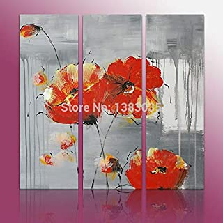 DIU Hand Painted Blossom Red Flower Canvas Painting Modern Abstract 3 Piece Wall Decor Oil Pictures Set For Home