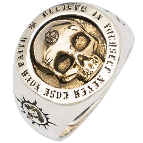 FORFOX Anillo de Calavera Skull Oro con Totem Sol de Plata de Ley 925 para Hombres Mujeres Talla Ajustable 15-26