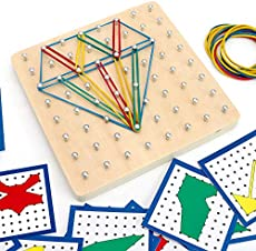 KINGZHUO Wooden Board Pattern Shape Puzzle Mathematical Graphical Educational Toys with Pattern Cards and Latex Bands Brain Teaser for Kid Assembly & Disentanglement Puzzles Develop Imagination