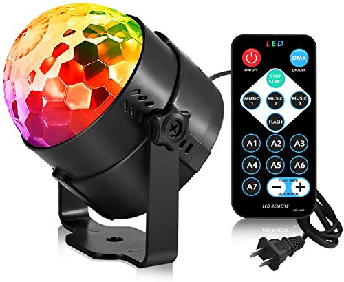 AOMEES Disco Ball Party Lights Strobe Light 3W Sound Activated DJ Lights...