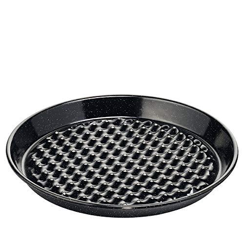 Riess, 0400-022, Grilltasse rund, Boden gelocht, CLASSIC - SPEZIALARTIKEL, Durchmesser 32 cm, Höhe 3,7 cm, Emaille, schwarz