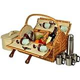 Picnic at Ascot Yorkshire Picknick Korb für 4mit Coffee, Rattan/Pavillon