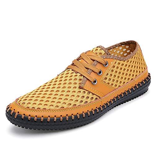 Trampki dla mężczyzn perforowane buty do chodzenia koronki w górę dorywczo poślizgu na ściegu antypoślizgowym oddychający lekki regulowany (Color : Blue, Size : 38 EU)