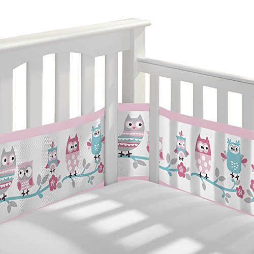BreathableBaby Classic Breathable Mesh Crib Liner  Owl Fun Pink Standard