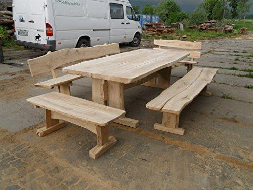 KJR Holzmanufaktur Rustikale Gartenmöbel, Sitzgruppe, Sitzgarnitur, Eiche, 2,5 m, 4 Bänke