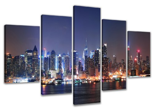 Visario 5505 - Quadro su tela, motivo: New York, 160 cm, 5 pezzi, blu bianco, legno