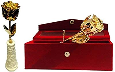 Msa Jewels - Gold Dipped Natural Rose 15 cm with Beautiful Velvet Box Packing (15 cm, Gold)