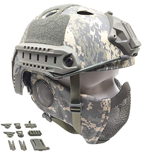 Tactical Airsoft Fast Helmet PJ Type and Metal Mesh Guard Foldable Double Straps Protect Ear ACU