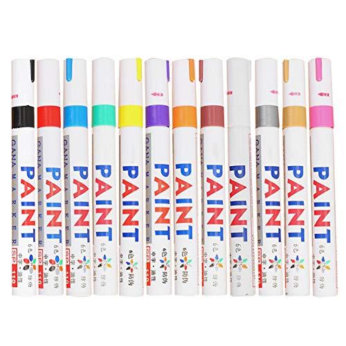 12 Stücke Reifen Stift Reifenmarker Auto, Multi Color Auto Moto Auto Paint Pen Für Autoreifen, Permanent Wasserdichte Gummifarbe Marker Pen Buntes Metall Ölige Füllfarbe Für Autoreifen Reifenprofil