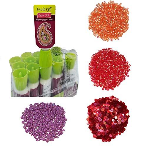 Fabric Glue, Embroidery Glue, Fevicryl, Rivoli, chatons Rhinestone 200 Pcs Each (90Ml Pack of 3Pc)