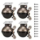 Ball Caster Wheels 360 Degree Antique Brass Top Plate Casters with 1 Pack Nail Antique Smooth Caster Furniture Ball Caster Wheel for Chairs Sofa Table Leg (with Lock)