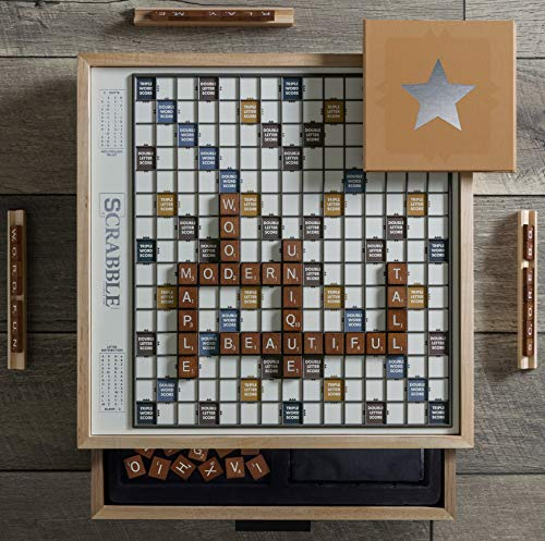 WS Game Company Scrabble Luxe Maple Edition with Rotating Solid Wood Cabinet