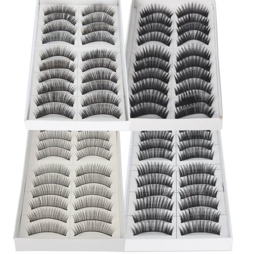 Click Down 40 Pairs Black Long & Thick Reusable False Eyelashes Fake Eye Lash for Makeup Cosmetic - 4 Kinds of Style by Click Down