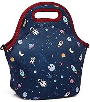 VASCHY Lunch Box Bag for Kids Neoprene Insulated Lunch Tote with Detachable Adjustable Shoulder Strap in Cute Astronaut