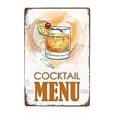 ivAZW Signe Étain Affiche Murale Métal Sweety Foods Boissons Menu Pub Bar Club Art Décoration Murale Vintage Plaque Peinture 20X30Cm 22