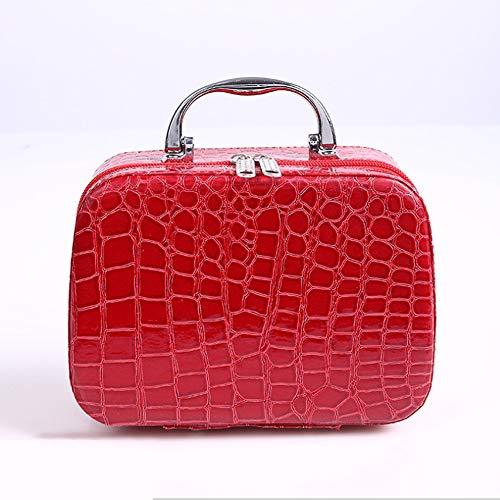 Sac de rangement pour cosmétiques portables pour femmes Fermeture carrée Étui cosmétique Miroir Étui cosmétique Travel Out (Rouge Rose Noir Pourpre)