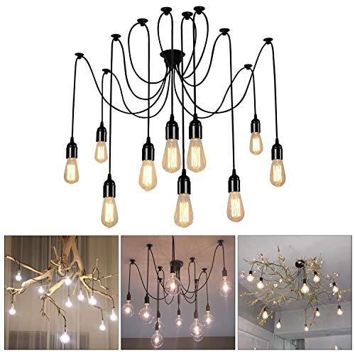 Glighone Lámpara Vintage Lámpara de Techo Lámpara de Araña Industrial Lámpara de Vendimia Múltiple DIY Casquillo E27 (10 Interfaces)