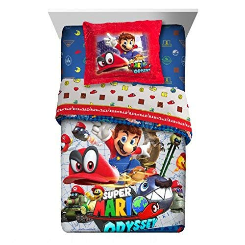 Super Mario Nintendo Odyssey 5pc Twin Comforter and Sheet Set Bedding Collection, new 2018