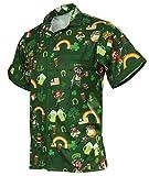 Funny Guy Mugs Men's Irish St. Patrick's Day Hawaiian Print Button Down Short Sleeve Shirt, Small