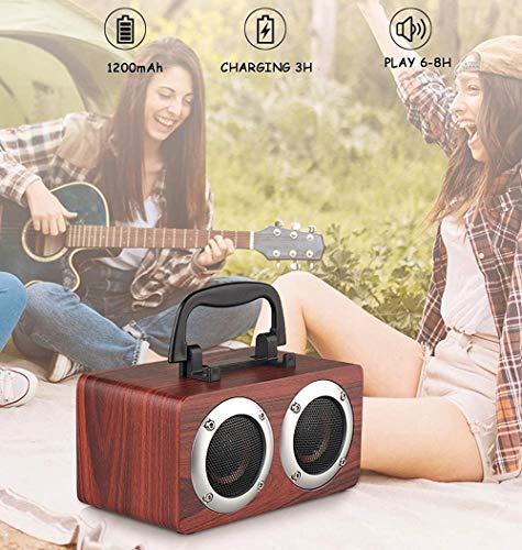 Altavoz de música inalámbrico con Soporte para teléfono móvil y asa Conveniente, 2 Altavoces de Gran diámetro, Soporte estéreo Bluetooth TF AUX-marrón