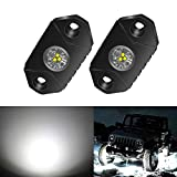 4WDKING White LED Rock Lights, 2 Pods IP68 Waterproof Underbody Glow Trail Rig Lamp LED Neon Lights for Truck Jeep Off Road Truck Car Boat ATV SUV Motorcycle