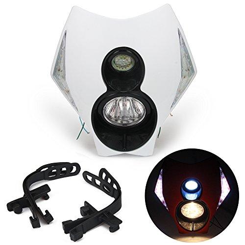 JFG RACING Phare de moto universel H3 12 V 35 W à LED halogène double phare avec feux clignotants LED pour moto tout-terrain, super motard – Blanc