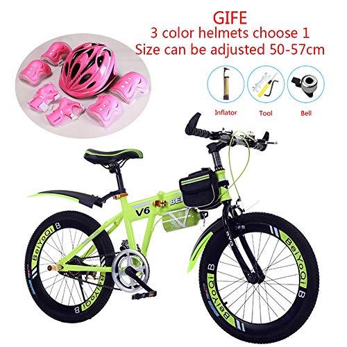 JEANN-bicycle Bicicleta de montaña de Bicicleta para niños portátil Plegable 3 Colores, Rueda de 18/20/22 Pulgadas, Juego de Cascos de Regalo