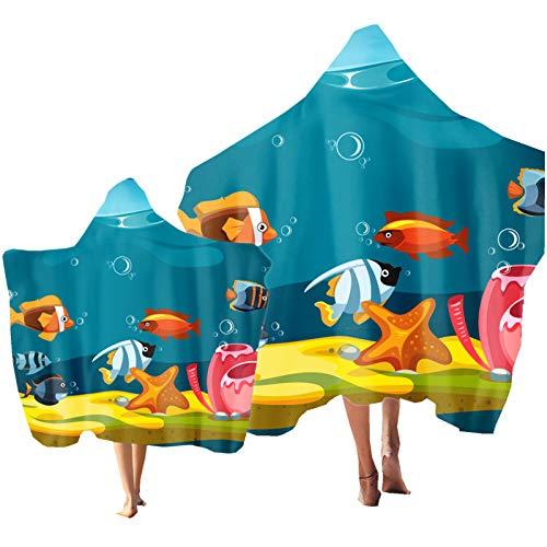 Toalla de Playa Toalla de Baño Oceano Pez Coral Tortuga Impresión Toalla de Deportes Manta de Playa para Infantil Adultos Natacion Surf Regalo Vacaciones e Viajar (Color 4, Adulto: 150 × 200 cm)