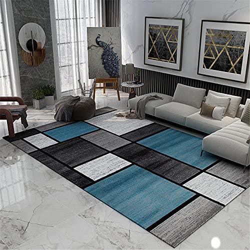 RUGMYW Alfombra Habitación Matrimonio Sin Pelo Geometría Cuadrada De Cuadros Azules Negros Modernos Habitacion Comedor Pasillo para Mesa Pie De Cama Jarapas 80X160cm