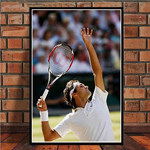 Lienzo artístico, superestrella deportiva Roger Federer (Roger Federer), pósters e impresiones del jugador de tenis, arte de la pared, decoración de la pared, carteles de arte retro para el hogar