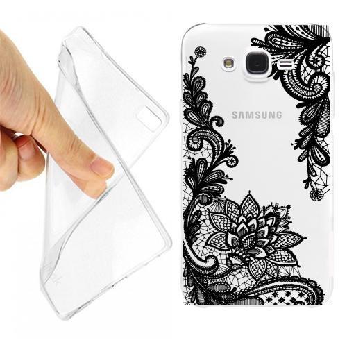Custodia Cover Case Mandala Fiore Ricamo per Samsung Galaxy Grand Neo Plus Trasparente