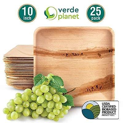 Verde Planet - 10 inch Square Palm Leaf Plates - Biodegradable, Ecofriendly, Disposable, Sturdy, Elegant, Premium Quality Plates - 25 Count