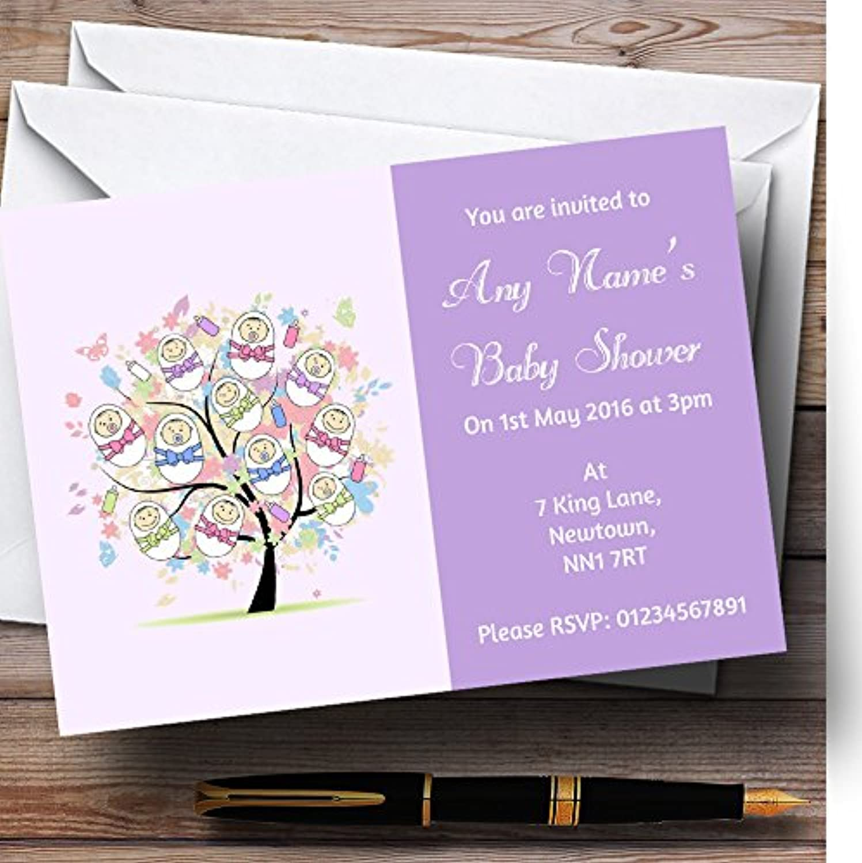 Baby Tree purplec Personalised Baby Shower Invitations   Invites & Envelopes