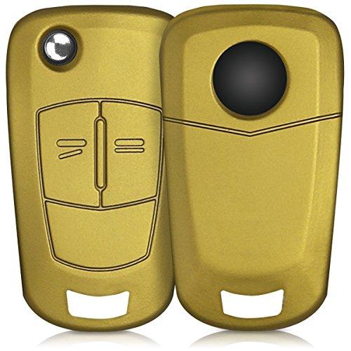 kwmobile Funda de Silicona Compatible con Opel Vauxhall Llave de Coche Plegable de 2 Botones - Carcasa Suave de Silicona - Case Mando de Auto Oro Metalizado