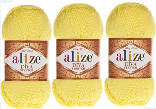 Alize Diva Stretch-Garn, Handstrickgarn, 3 Knäuel, 300 g, elastisch, Mikrofaser, Acryl, Stretch, Bikinigarn 643