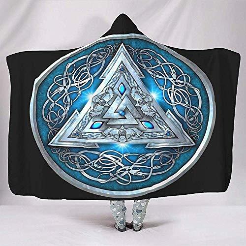 Nat Abra Etnische Middeleeuwse Driehoek Noorse Mythologie Kraaien Knoop Artwork Dekens Retro Knuffelig Warm Sherpa Fleece Sjaal Wrap
