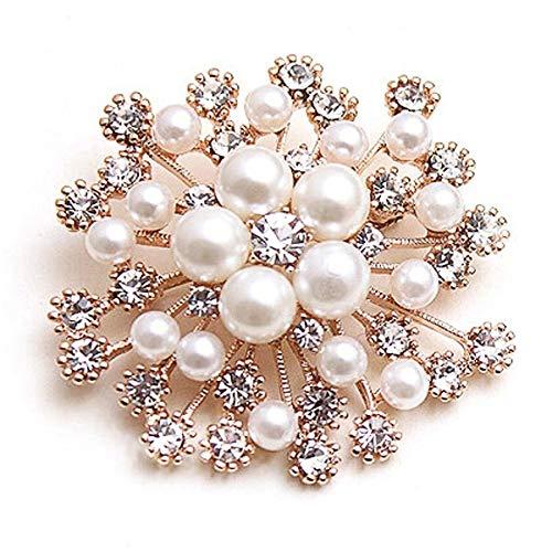 Toirxarn Modeschmuck schöne Silber vergoldet Vintage Kristall Strass Brosche für Frau (Schneeflocke Perle Kristall)