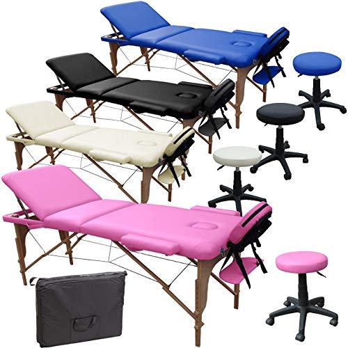 Lettino Massaggio 3 Zone in Legno Dimensione 195/225 X 70 CM + Sgabello Regolabile in Altezza + Borsa per LETTINI da Massaggi Portatile - Pannello Reiki - Angoli ARROTONDATI E RINFORZATI - Rosa