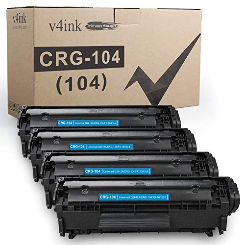 V4INK 4-Pack Compatible Toner Cartridge Replacement for Canon 104 CRG-104 FX-9 FX-10 Toner Cartridge Using with Canon Imageclass D420 D450 D480 MF4150 MF4350D MF4270 MF4370DN MF4380DN Printer