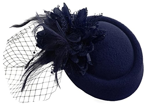 Navy Pillbox Fascinator Hat for Women Weddings Bird Cage Veil Clip