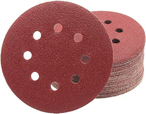 Discos de lija profesionales, 60 unidades, 8 agujeros, diámetro de 125 mm, 10 unidades de grano 40/60/80/120/180/240, para lijadora excéntrica, hojas de lija, almohadillas de lija.