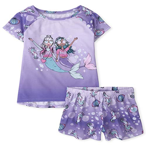 The Children's Place Girls' Two Piece Pajama Set, Lovely Lavender, XL (14)