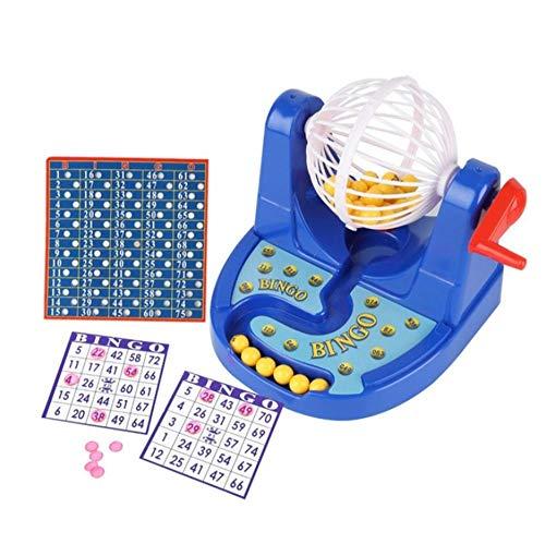 XMMMX Juego de Bingo Mini máquina de Juego de Bingo de Dibujos Animados con Bolas de números de lotería Juguete