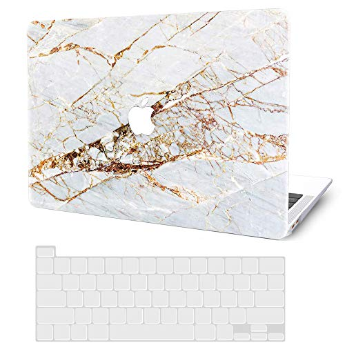 MacBook Pro 13 Inch Case 2020 2019 2018 2017 2016 Release M1 A2338 A2251 A2289 A2159 A1989 A1706 A1708, G JGOO Hard Shell Case + Keyboard Cover for Apple Mac Pro 13 with/Without Touch Bar, Gold Marble