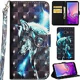 Ooboom Samsung Galaxy J4+ Plus Hülle 3D Flip PU Leder Schutzhülle Handy Tasche Hülle Cover Ständer mit Kartenfach Trageschlaufe für Samsung Galaxy J4+ Plus - Wolf